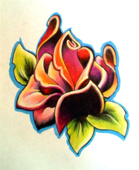 new school rose tattoo design deco rose by uken on deviantart