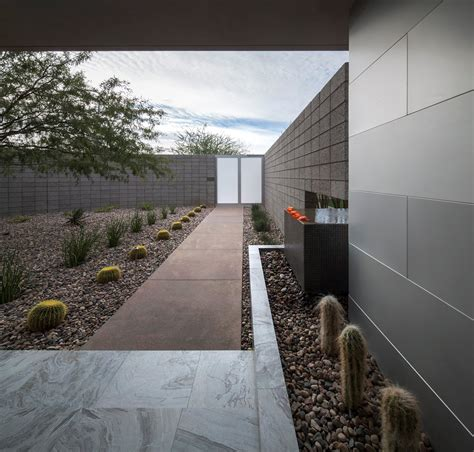 marble tiles pathway mid century modern home in