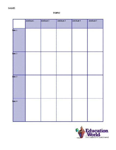 Comparison Chart Template Education World Comparison Chart Template