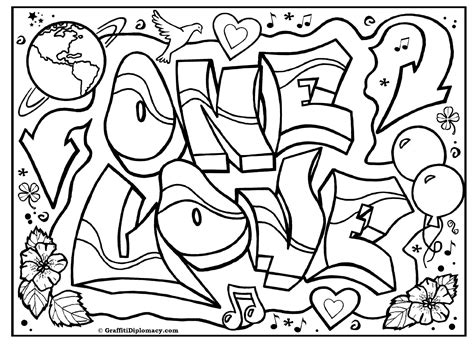 Graffiti Art Coloring Page | free coloring pages of graffiti love