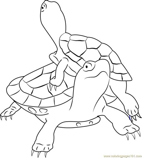 turtles coloring painted turtles climbing coloring page free turtle