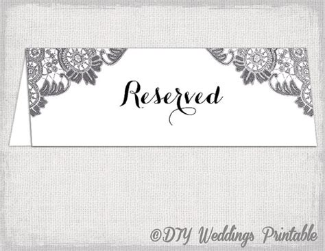 Reserved Cards For Tables Templates reserved card template antique lace printable
