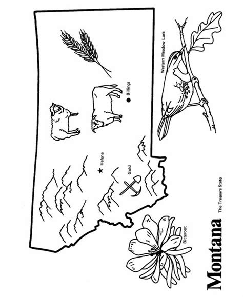 Montana State Outline Coloring Page Cc Cycle 3 Week 10 Montana Coloring Pages