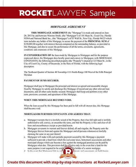Mortgage Agreement Template Mortgage Lien Form With Sle Mortgage Purchase Agreement Template