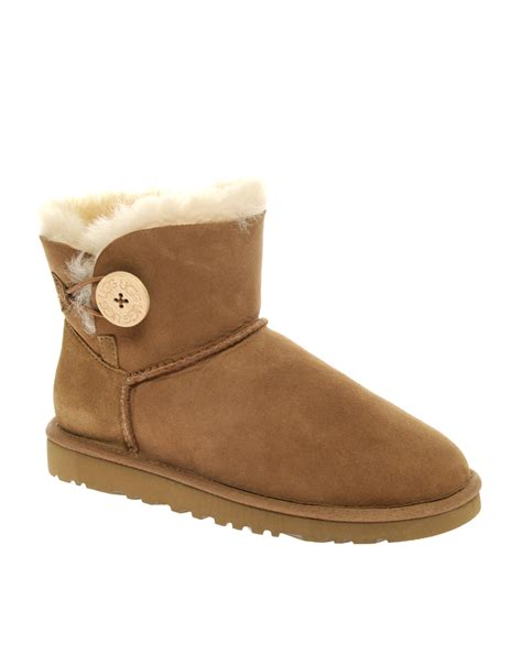 Ugg Bailey Button by Ugg Australia Suede Bailey Button Boots In Brown Chestnut