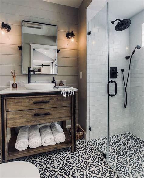 modern farmhouse bathroom  lip   shower tile