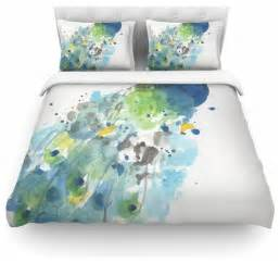 watercolor duvet bender quot abstract watercolor peacock quot duvet cover
