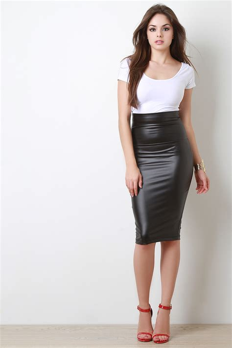 vegan leather midi pencil skirt urbanog