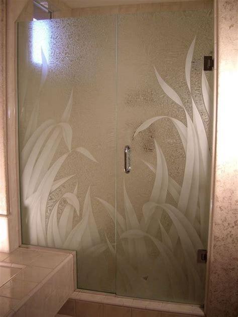 etched shower doors houzz