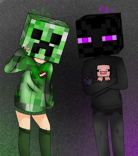 minecraft anime girl wallpaper creeper and enderman by exilia2417 on deviantart