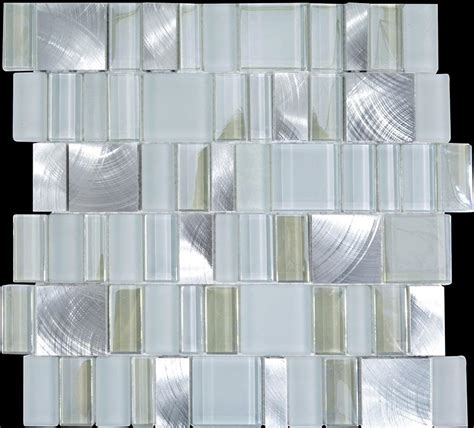 metal glass tile bathroom wall backsplash stainless steel