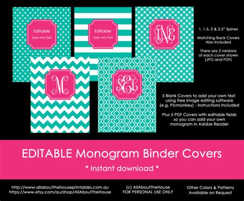 monogram planner cover binder cover spine editable printable