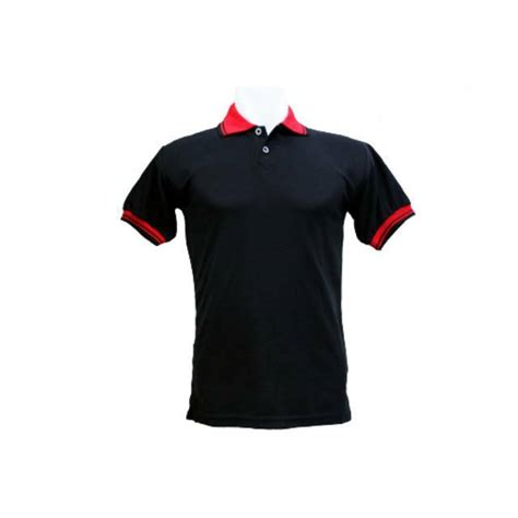 polo shirt kaos kerah hitam kombinasi merah baju pria