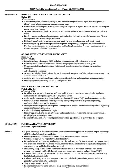 regulatory resume sle cv templates regulatory affairs specialist resume sles velvet