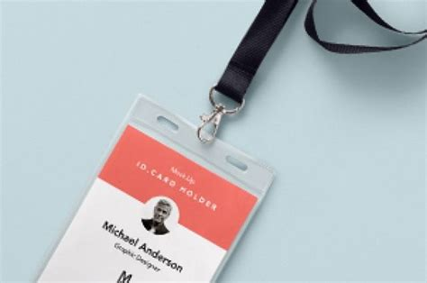 employee id card template free behance this is a new realistic psd id card holder mockup to