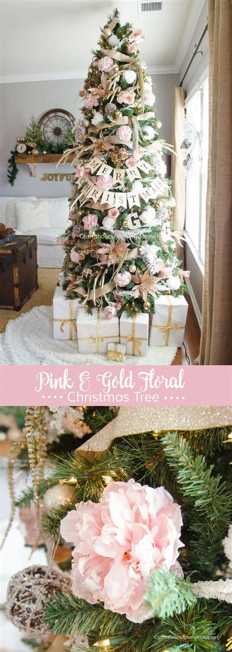 flower theme christmas trees decorating ideas pictures 23 beautiful craftaholics anonymous 174 pink and gold floral christmas tree