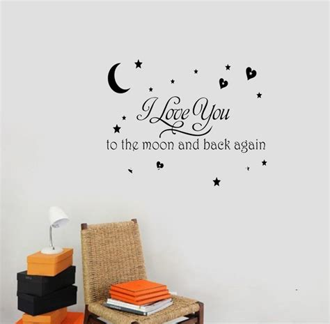 I Love You To The Moon And Back Again Wall Quote Decal I You To The Moon And Back Nursery Decor