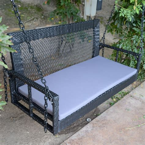 black wicker porch swing outdoor garden furniture