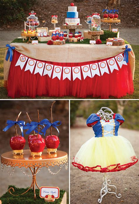 snow themed decorations snow white and the seven dwarfs in woodland birthday