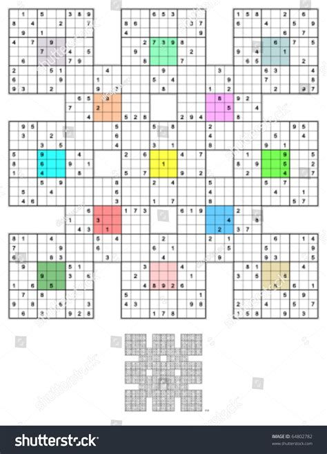 sudoku 768 symmetrical puzzles your brain sudoku your brain volume 1 books sumo sudoku 13 overlapping sudoku puzzles stock vector
