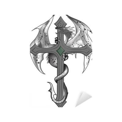 cruz tattoo png vinilo pixerstick plantilla de la cruz dragon tattoo