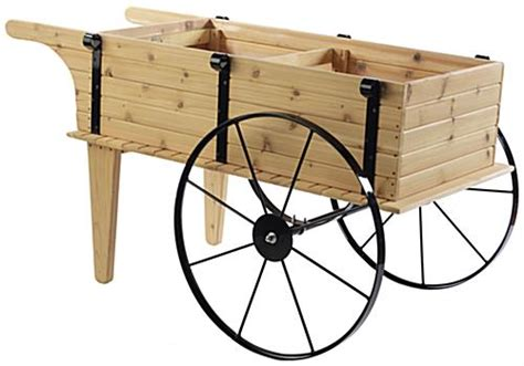 wooden flower cart steel  moveable wheels