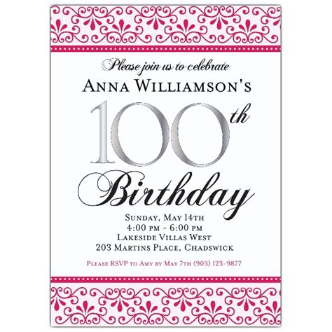 100th Birthday Invitation Wording First Birthday Invitations 100th Birthday Invitation Templates Free