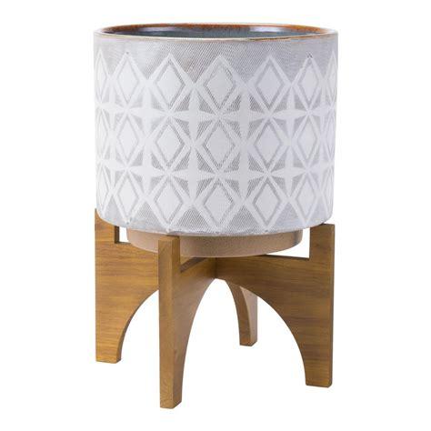 10 Ceramic Planter White - trendspot 10 in dia ceramic white rivage planter cr10853