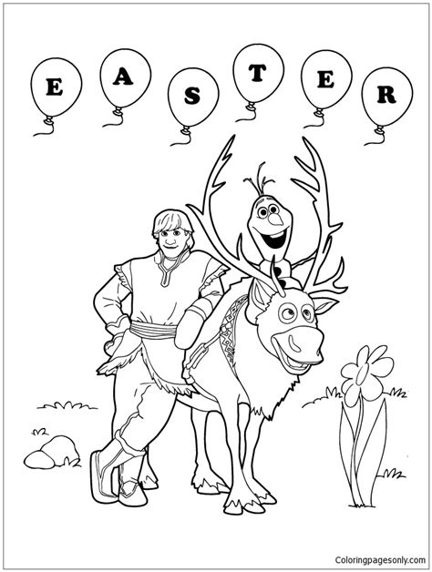 frozen coloring pages easter frozen sven olaf and kristoff easter coloring page free