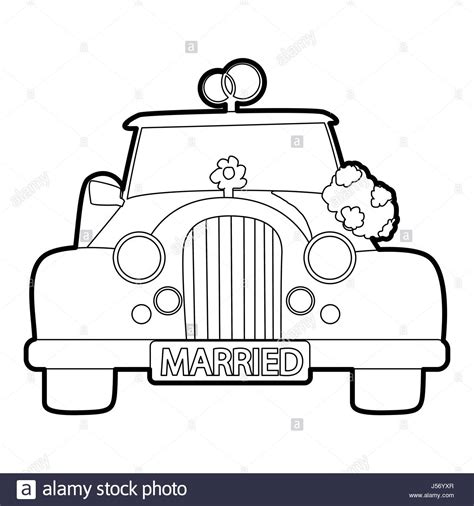 Outline Style Auto by Married Car Icon Vector Illustration Stock Photos Married Car Icon Vector Illustration Stock