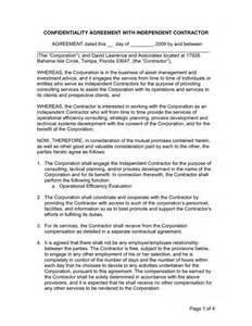 Contractor Confidentiality Agreement Template by Confidentiality Agreement With Independent Contractor In