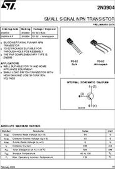 datasheet of transistor 2n3904 2n3904 datasheet small signal npn transistor