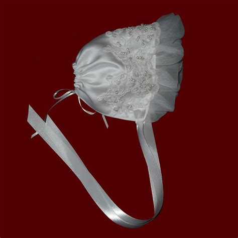 ruffle bonnet satin with beaded trim organza ruffle bonnet