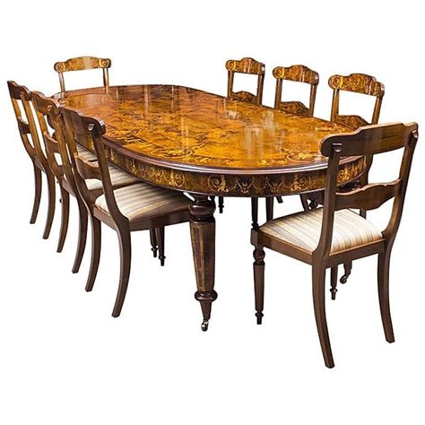 Handmade Dining Table And Chairs - bespoke handmade burr walnut marquetry dining table and 8