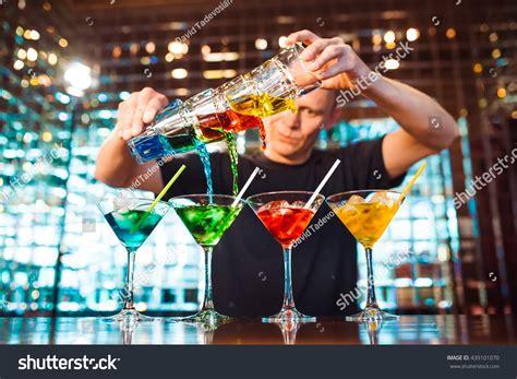 barman show bartender pours alcoholic cocktails stock photo 439101070