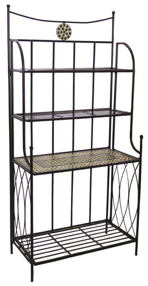 Wrought Iron Bakers Rack by Alfresco Home Shannon Wrought Iron Mosaic Outdoor Bakers
