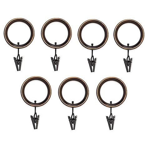 umbra drapery rings umbra 174 duo duala espresso clip rings set of 7 bed bath