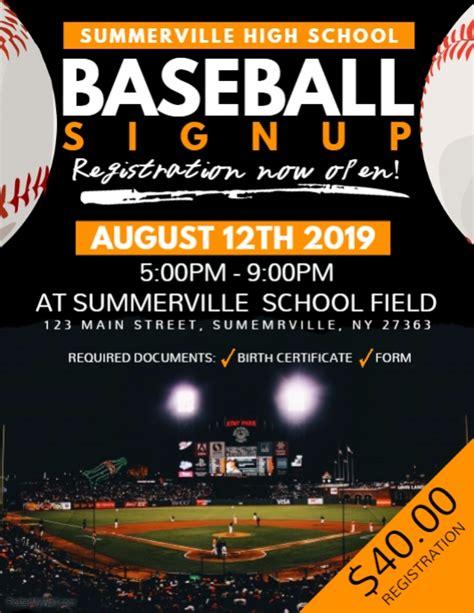 baseball flyer template baseball signup flyer template postermywall