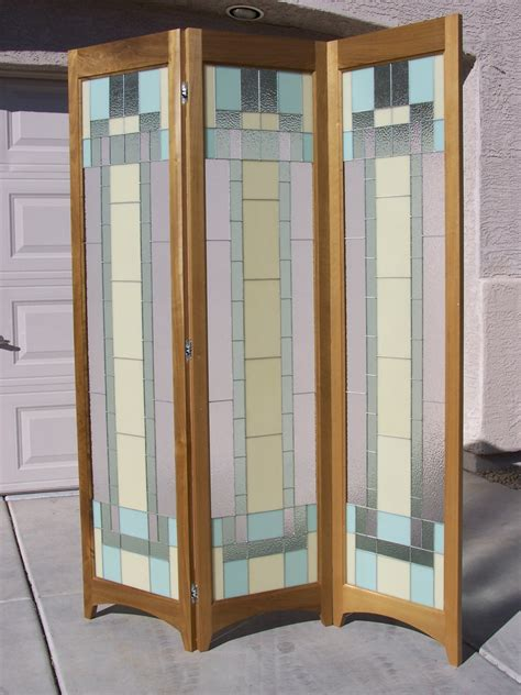 Glass Panel Room Divider Riesling Stained Glass Room Divider 3 Panel Screen By Adair