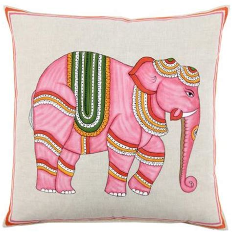 Pink Elephant Pillow by Robshaw Textiles Pink Elephant Handpainted Pillows