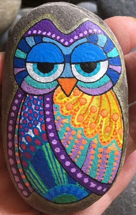 owl painted rock painted rocks owls hand painted rocks