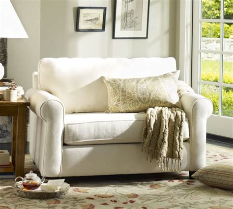 buchanan roll arm upholstered sleeper sofa pottery barn