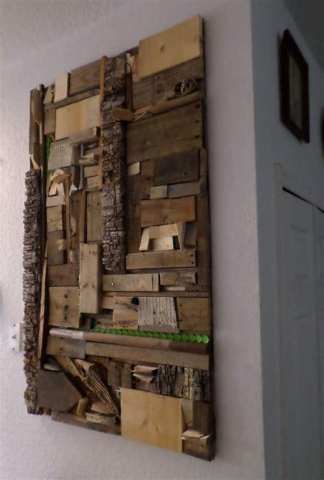 recycled scrap materials  wood wall art