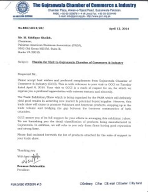 Letter For Business Association International Convention Paba Pakistan American Business Association
