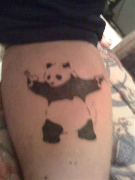 douchebag tattoos panda with gun chicken crap
