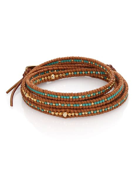 wrap beaded bracelet chan luu beaded leather multi row wrap bracelet in brown