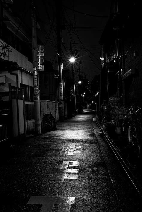 light of alley | Dark city, Dark alleyway, Black, white