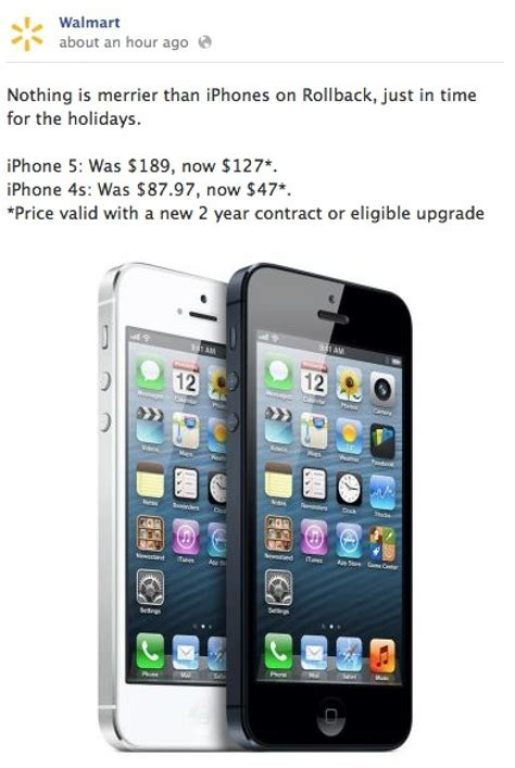 walmart offering iphone 5 for 127 third generation for 399 mac rumors