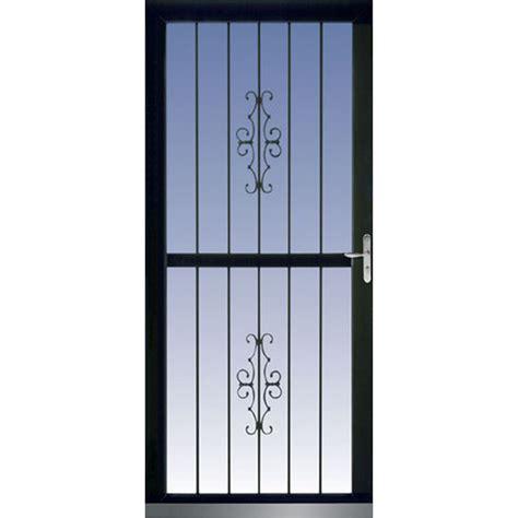 Glass Security Doors Shop Larson Classic View Black View Tempered Glass Security Door Common 36 In X 81