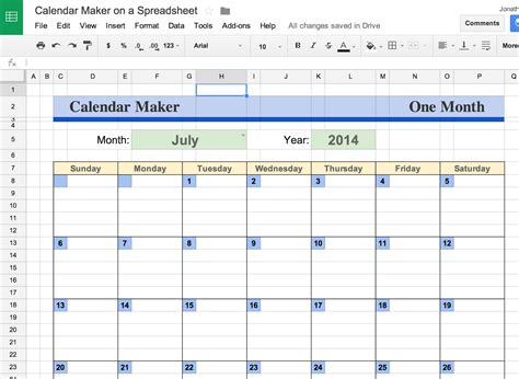2017 Calendar For Google Sheets
